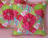 THROW PILLOWS, Two, 14 X 14, Satin Roses And Buttons,  Hot Pink, Lime Green, Auqua, Fabric, Beautiful.