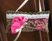 "SACHET PILLOW, ""LAVENDER"" Sachet, Pink, Gold And Green, Satin Rose, Beautiful."