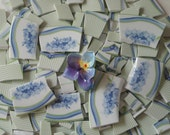 CHINA MOSIAC TILES, 167, Floral Focals, Lavender, Sage Green And White, Hand Cut China, Shabby Purple, Porcelain  Pansie, Darling.