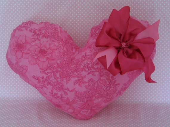 THROW PILLOW, Heart Shaped, Hot Pink Floral, Big Puffy,Satin Pink Bow, Large and Gorgeous.