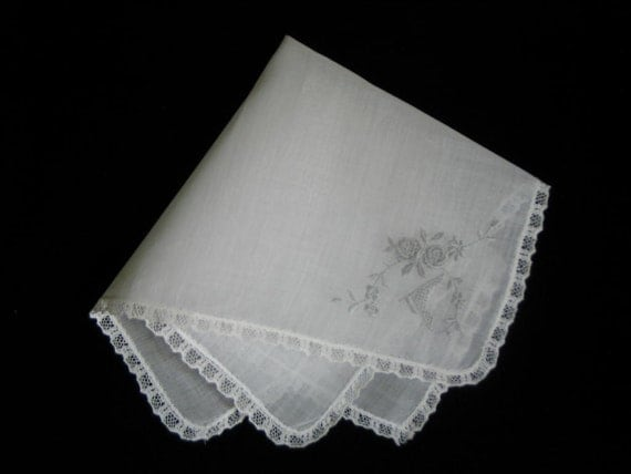 WEDDING HANKIE, Vintage, Gray On White Linen, Embroidery, Punch Work, Roses.