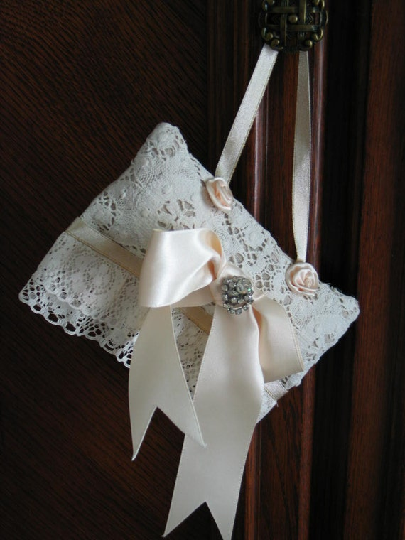 "SACHET PILLOW, ""Lilly Of The Valley"" Ivory And Taupe, Antique Lace And Rhinestone Earring, Gorgeous."