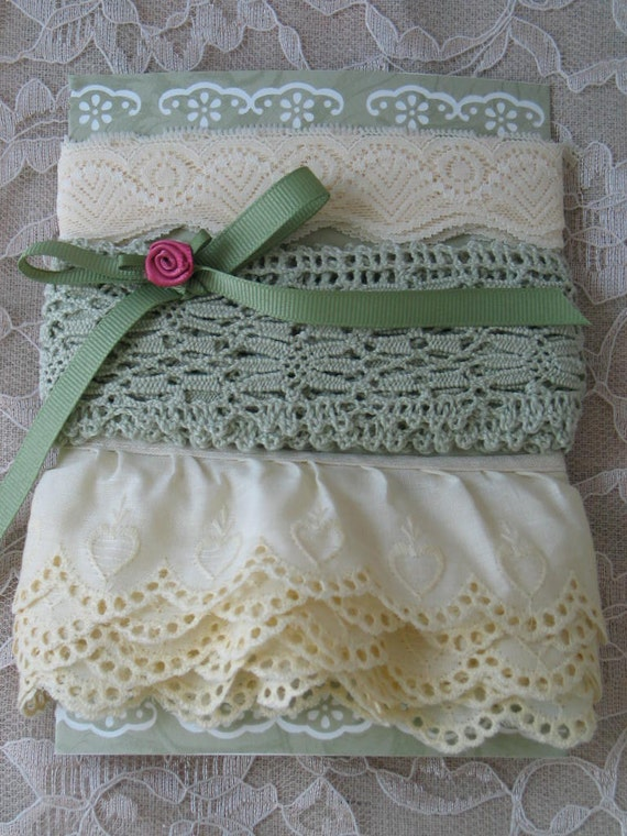 VINTAGE LACE, TRIM, Pale Yellow And Sage Green, 8 yards, Embellishments, Gorgeous.