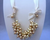 Ivory Swarovski Pearls Cluster Necklace on Byzantine Chain and Satin Ribbon