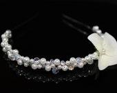 Bridal Tiara Headband with WHITE Swarovski Pearls and Crystals