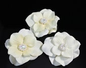 Set of 3 Small Ivory Bridal Flowers with Swarovski Pearls and Crystals Hair Pin / Clip / Comb
