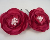 Set of Two Silk Dark Burgundy Flowers with Swarovski Pearls on Bobby Pin / Clip / Comb
