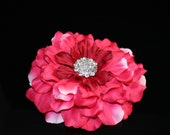 Large Pink Flower Hair Clip / Comb / Bobby Pin / Headband with Rhinestone Center
