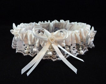 White Bridal Garter with Swarovski Pearls