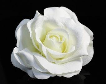 Large White Rose Bridal Hair Pin / Clip / Comb