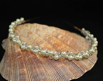 Bridal Tiara Band, Headband with White Swarovski Pearls and Crystals, Wedding Headpiece, Bridesmaid Tiara Headpiece, White or Ivory Tiara