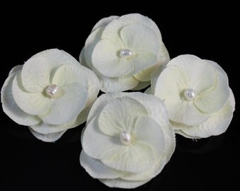 Set of 4 Small White / Ivory Bridal Hair Flower Bobby Pins / Clip / Comb with White Freshwater Pearls