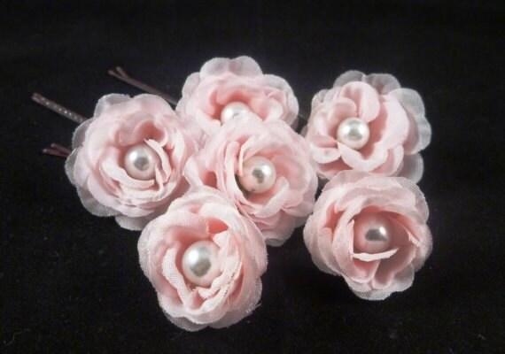 Set of 6 Small Bridal Pink Roses Flower Hair Pins / Clip / Comb / Headband