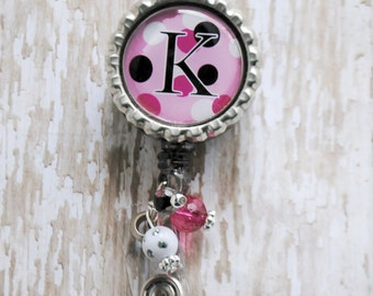 Badge reel - Your Initial on a Retractable Badge Reel with BLING
