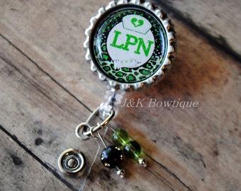Badge reel LPN Retractable Badge Reel...Lime green and black