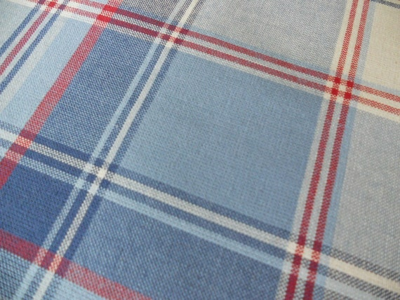 Reversable  Red White and Blue Plaid Vintage Valances