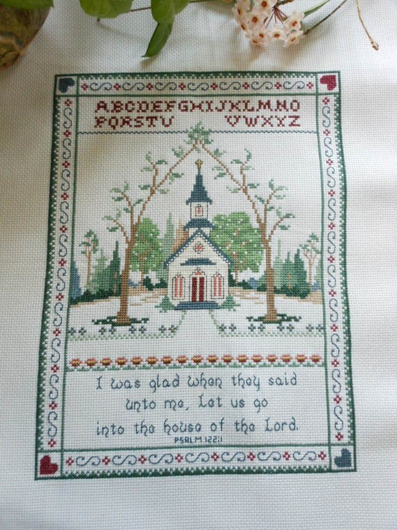 Cross Stiched Sampler Bible Passage