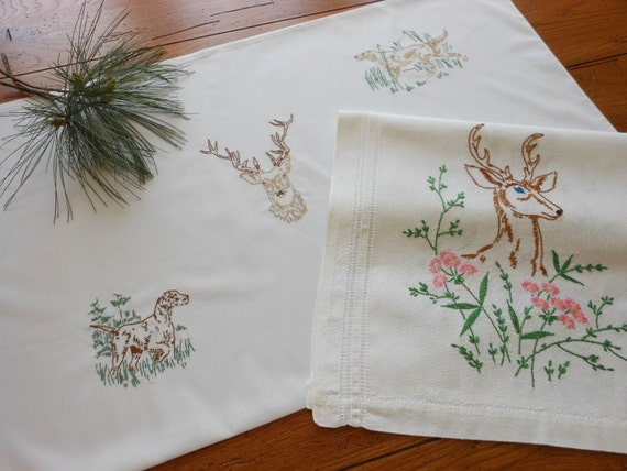 Cabin Style Hand Embroidered Pillowcase And Dresser Scarf