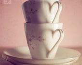 I HEART Tea (Pink)- Fine Art Photography Print, Pink Cream Kitchen Still Life Photography Wall Art Print, Photo Tea Lovers Print, Home Decor