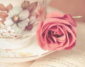 Afternoon Delight - Fine Art Photography Print. Tea Lovers Photography Print. Romantic Soft Pink Rose Still Life Wall Art Home Decor, Print