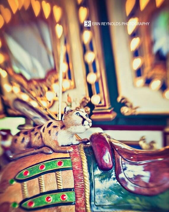 Carousel Leopard - Photography Print, Lights Abstract, Nursery Room Decor, Animal Carousel Print, Home Decor, Wall Art