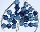 Moonlight Montana Blue Dark Indigo Crystal Tree of Life Necklace