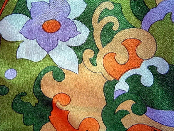 Vintage 1960's Colorful Groovy Large Scarf Mod Abstract Floral Design