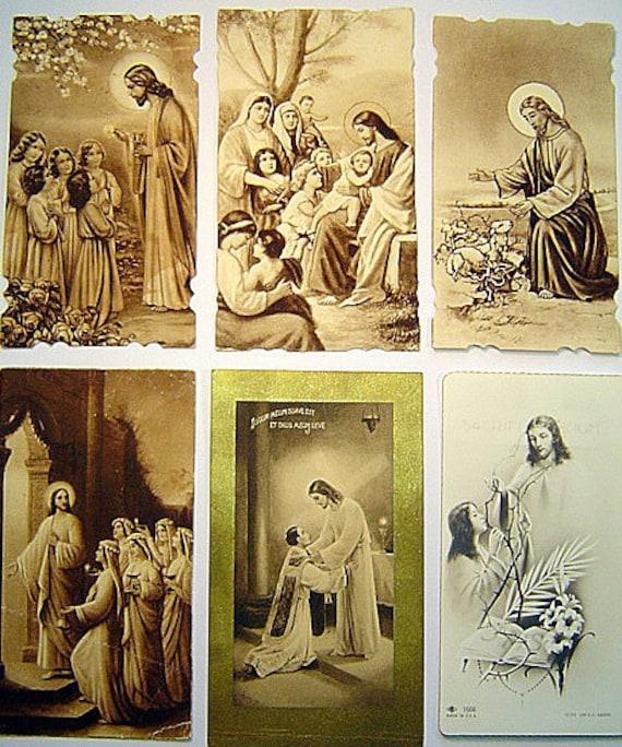 Lovely 1940's Jesus Vintage Holy Cards Lot of Six
