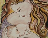 Breastfeeding Mother Art Tile