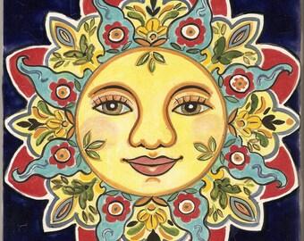 Sunface ceramic plaque
