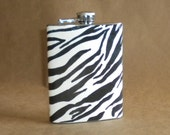 Black and White Zebra Print Girl Gift Stainless Steel 8 ounce Flask