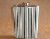 Flask Sale Groomsmen or Guy Gift of Distressed Grunge Looking Blue, Gray, and Brown Striped Stainless Steel Flask