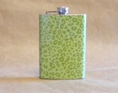 Ladies' Gift Green Leopard Print Stainless Steel Girl Gift  Sale Flask 8 Ounces