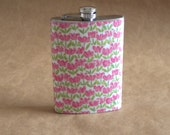 Field of Pink Tulips  Bridesmaids Birthday Girly Stainless Steel Gift Flask