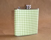 Flask on Sale Apple Green and White Gingham Print 6 ounce Stainless Steel Girly Gift Flask