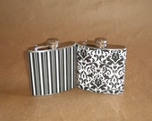 His and Hers 6 ounce Black and White Wedding Stainless Steel Gift Flask