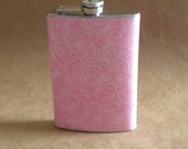 Flask on Sale Cotton Candy Pink with Pink Swirls Girly Bridal Party Stainless Steel Gift Flask