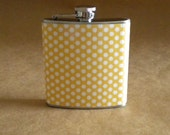 Yellow with White Polka Dots Stainless Steel 6 ounce Girly Gift Flask
