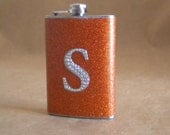 Ready to Ship Burnt Orange Sparkly or ANY Color Sparkly with ANY Rhinestone Initial 8 ounce Stainless Steel Flask KR2D 4529