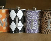 Bridesmaids Gift Flasks ANY 4 PRINT DESIGN Stainless Steel Gift Flasks with Rhinestone Initials