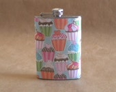 Cupcakes Print Birthday or Bridal Party Girly Stainless Steel Hip Flask KR2D4882