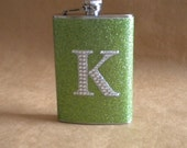 Ready to Ship Lime Green or ANY Color Sparkly with ANY Rhinestone Initial 8 oz Stainless Steel Girly Gift Flask KR2D 5194