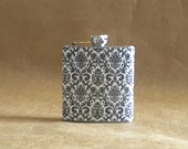 Black and White Fancy Damask Print 6 ounce Stainless Steel Girly Gift Flask KR2D 5705