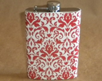 Price Reduced SALE Flask Cinnamon and White Damask Print Wedding Party Stainless Steel SALE Flask 8 Ounces
