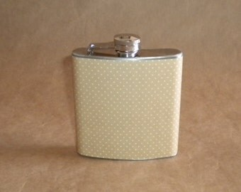 SALE Flask Taupe and White Pin Dot Print 6 ounce Stainless Steel Bridal Party Birthday Gift Flask