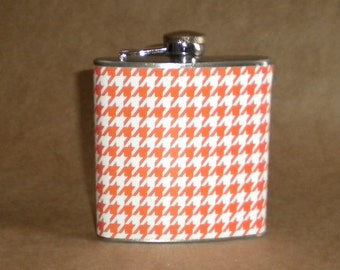 Orange and White Houndstooth Print 6 ounce Stainless Steel Girl Gift Flask