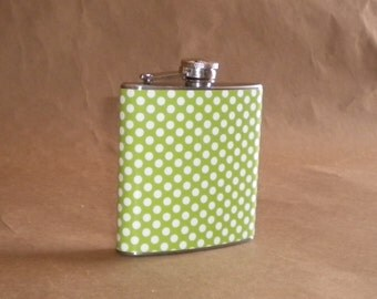 Apple Green and White Polka Dots Print 6 ounce Stainless Steel Gift Flask