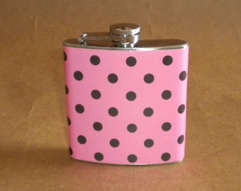 SALE Gift Flask Hot Pink with Black Polka Dots Stainless Steel 6 ounce Flask