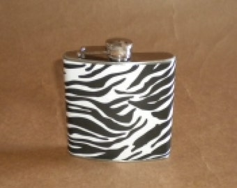 Ready to Ship Flask White with Black Zebra Print 6 ounce Stainless Steel Bridal Party Gift Flask