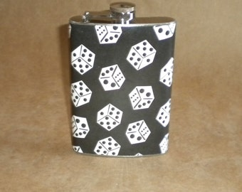 Sale Price Reduced Black and White Dice Print Birthday Wedding Party Gift Stainless Steel Flask